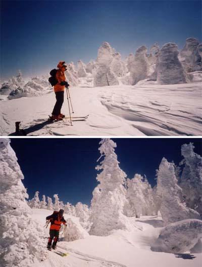 吾妻山でのスキー